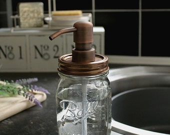 Ball Mason Rustic Soap Dispenser Jar with Antique Copper Pump and Lid **UK SELLER**
