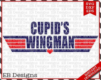 Cupid's Wingman Valentine Cut File (SVG, EPS and DXF)