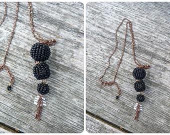 Black pompoms necklace / 3 pompoms tassels beaded necklace