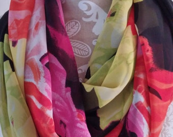Colorful Chiffon scarf, Infinity Scarf, printed scarf, Women scarves, scarf, accessories, eternity scarf, light weight scarf