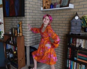 Vintage Psychedelic Flower Paisley Dress
