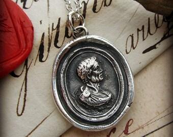 Julius Caesar Intaglio Wax Seal Necklace handmade of fine silver - E2210