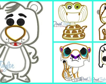 Pop Jungle Book Set of 5 designs!!!!- 4x4, 5x7 and 6x10 in 9 formats - Applique - Instant Download - David Taylor Digitizing