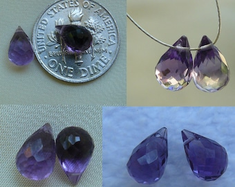 Amethyst briolette beads pair faceted drops (2 pieces)