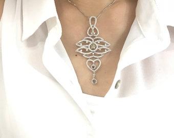 3.53 Carat Statement Diamond Pendant - 18K White Gold Estate Jewelry