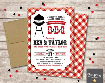 Baby Q Shower Invitation, BBQ Baby Shower Invitation, Couples Baby Shower BBQ, Backyard bbq baby shower invitations, Printable Pdf File