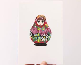 Babushka Doll Ilustration - A6 Illustrated Postcard