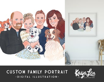 Custom Family Portrait | Personalized Anniversary Gift | Custom Portrait Illustration | Custom Family and Pet Portrait | Digital DIY Print
