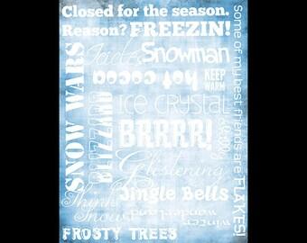 "Winter Words Collage Paper - Frosty Blue - 8"" x 10 1/2"" - CLPR070"