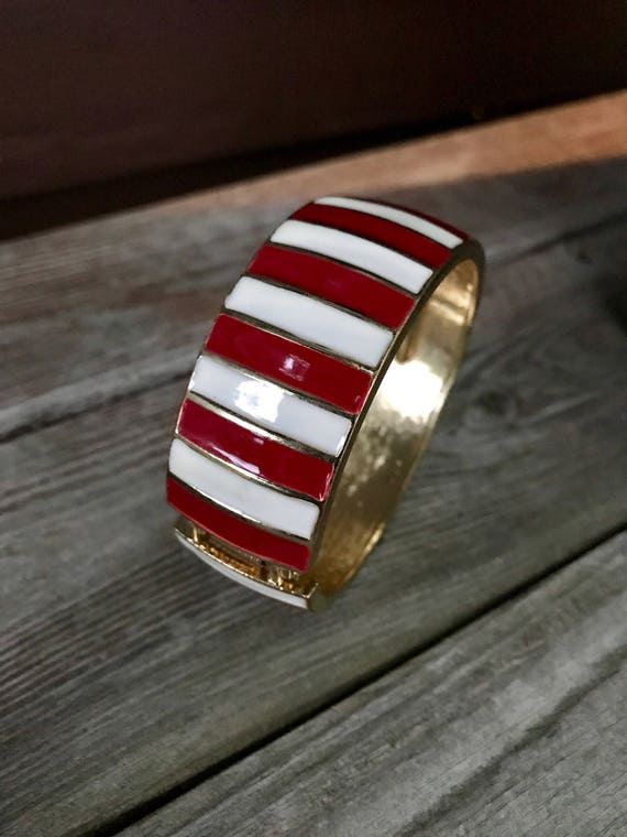 Vintage Maroon & Cream Enamel on Goldtone Striped Clamper Bracelet so very stylish for Autumn