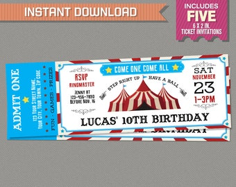 Carnival Party Ticket Invitations - Circus Party Invitations - Circus Birthday - INSTANT DOWNLOAD - Edit and print at home with Adobe Reader