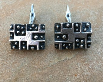 Vintage Brutalist Cuff Links 1960s Modernist Abstract Accessory