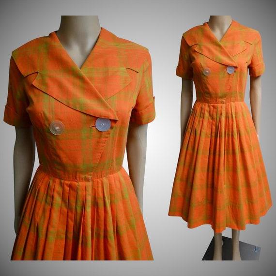 Jahrgang 1950 Kleid Orange Kleid Schal Kragen Kleid 50er