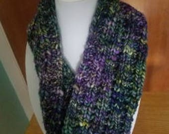 Chunky Knit Purple and Green Cowl