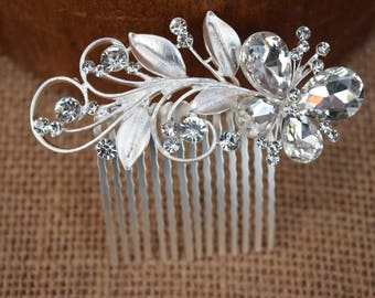 Silver Butterfly Comb