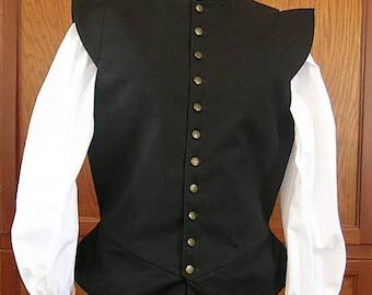 Medium Black Fencing Jerkin Doublet - Gipsy Peddler SCA Rapier Armor