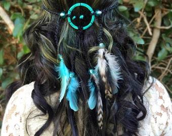Dreamcatcher Feather Headband - Turquoise Teal Headband - Festival Rave Party Hippie Headband - Halloween Costumes