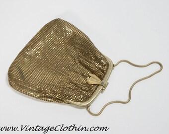 1930s Whiting & Davis Vintage Gold Mesh Purse, Whiting and Davis Purse, Vintage Purse, Gold Mesh Purse, Evening Purse, Vintage Handbag