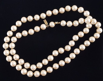 Vintage Marvella Individually Knotted Pearl Strand Necklace 24""