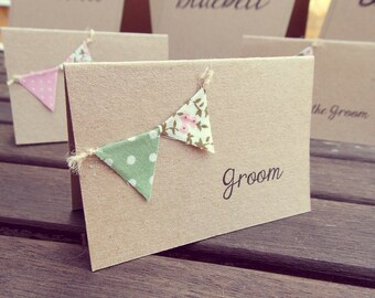 Rustic Place Cards / Escort Cards - Vintage Rustic mini Bunting on recycled Kraft card