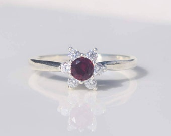 Silver Ruby Ring, Ruby Halo Ring, Ruby Ring, Cubic Zirconia Ring, Promise Ring, Lab Ruby Ring, July Birthstone Ring, Pink Halo Ring
