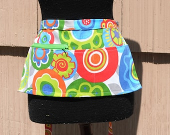 Vendor Apron Server Apron Cash Apron Travel Apron Zipper Orange Blue Green Circle Floral Cotton Twill