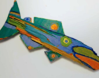 Colorful Painted fish Art Created From Recycled Wood and Corrugated Cardboard and is ready to Hang in any Room - Unusual Fish is Original