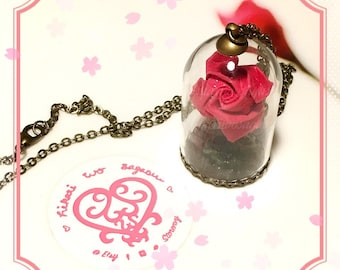 Origami Rose Glass Necklace