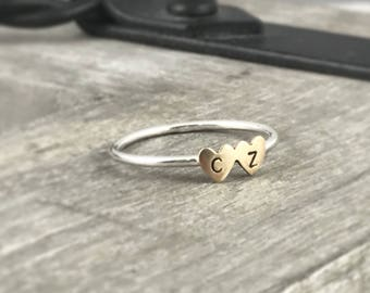 Double heart personalized ring, Heart Ring , stacking ring, Initials Ring, Love Ring, Sterling Silver Ring, Gift for Her, Valentines Ring