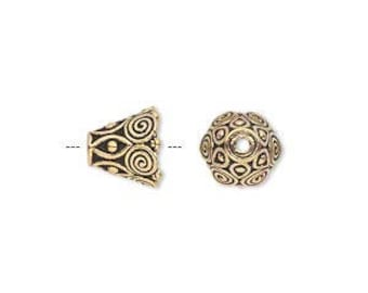 4 TierraCast Ornate Spiral Cone Bead Caps-Antique Gold Plated pewter - Lead free  (94-5641-26)
