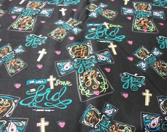 Religious Fabric  Crosses on Black Background New By The Fat Quarter BTFQ