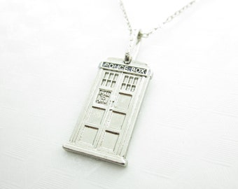 Doctor Who Tardis Necklace, Doctor Who Fan, Police Box Necklace, Police Call Box, Silver Tardis Necklace, X002