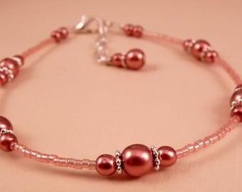 Ankle Bracelet Rose Anklet Pink Jewelry Pink Anklet Beaded Anklet  Beaded Jewelry Rose Pink Jewelry Pink Jewelry Silver Jewelry