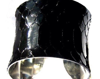 Glossy Black Snakeskin Silver Lined Cuff - by UNEARTHED