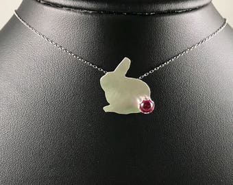 Bunny Necklace Sterling Silver and Ruby, July Birthday Gift, Rabbit Pendant Chain Necklace with Red Lab Ruby Tail July Birthstone