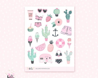Prickly Pink deco - 23 cute, hand-drawn planner stickers