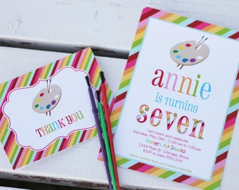 Rainbow Art Party Printable Invitation and Thank You card