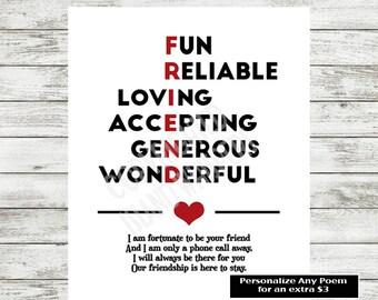 Friend Gift Print, Friendship Poem, Friendship Gift, Best Friend Gift, Best Friend Poem, Best Friend Quote, Instant Download