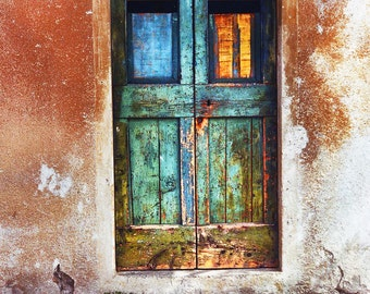 Rustic Old Door Modica Sicily Weathered Rust Colored Building Turquoise Distressed Doors & Decor Distressed doors Wall Decor