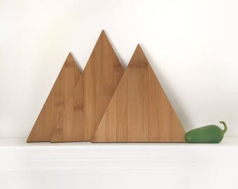 Mountain Cutting Board Set, Triangle Chopping Board, Mountain Decor, Boho Decor, Kitchen Decor, Home Decor, Modern Kitchen, Eco Friendly