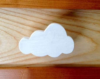 Drawer knob or peg theme white cloud painted natural wood