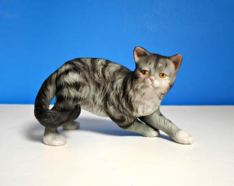 Gray Tabby Cat Figurine, Cat in Motion, Gray with Black Accents, Yellow Eyes, White Chest and Paws, Life-Like Figurine, Detailed Cat Figure