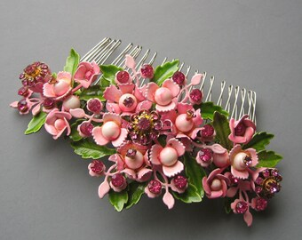 RESERVED. Monet meets Marie Antoinette - Radiant Orchid Floral Hair Comb