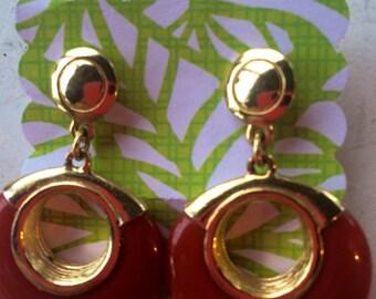 Vintage Gold Plate Carnelian Hoop Earrings
