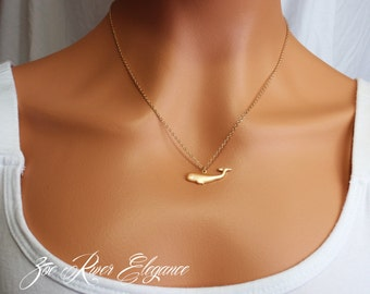 Choose gold or silver whale necklace. Elegant and simple whale necklace