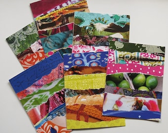 Boho style cards, handmade cards, collage cards, paper goodies, art journaling, gift card,