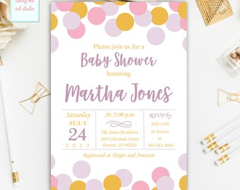Confetti Baby Shower Invitation, Purple, Pink, Lavender and Gold Polka Dots Baby Shower Invitations, Digital Printable Baby Shower Invites