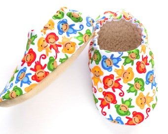 Monkey Baby Boy Shoes, Monkey Baby Booties, Baby Soft Shoes, Slip On Baby Shoes, Baby Boy Gift