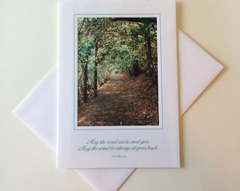 Wooded Tunnel Photo Note Card Blank Inside Inspirational Quote