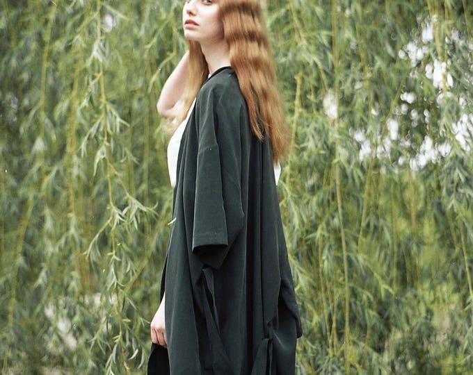 Featured listing image: Black Crepe Silk Dress Kimono. Japanese Inspirer Women's Kimono. Holiday, Cocktail Bridesmaid Robe. Fall Fashion. Olivia FW17